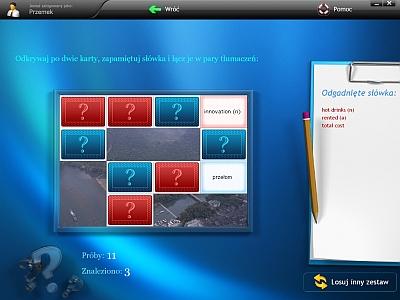 Dynamicznie generowane gry j�zykowe: krzy��wki i �wiczenia typu memory - w atrakcyjnej formie utrwalaj� nowo poznane s��wka.