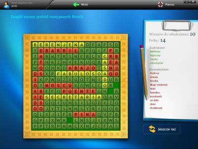 Dynamicznie generowane gry j�zykowe - krzy��wki i �wiczenia typu memory - w atrakcyjnej formie utrwalaj� nowo poznane s��wka.