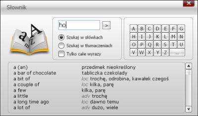 S�ownik - 15 000 hase�: Do��czony do programu s�ownik pozwala na szybkie odnalezienie  znaczenia nieznanych angielskich s��w.