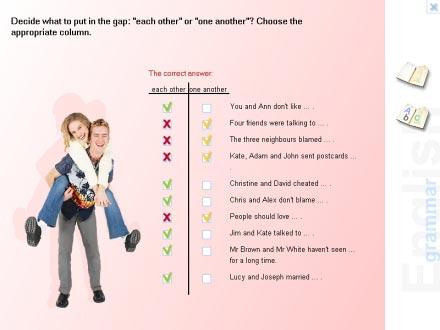 W Gramatyce występuje kilka rodzajów ćwiczeń, m.in. wybór odpowiedzi, uzupełnianie zdań, a także wygodne w obsłudze pytania typu