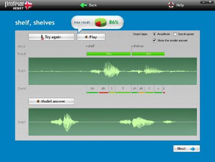 NOWOŚĆ Zaawansowany technologicznie system rozpoznawania mowy pozwala na precyzyjną ocenę poprawności wymowy.